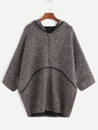 Batwing Sleeve Zipper Up Hooded Sweater Coat