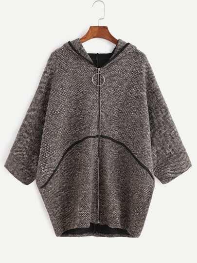 Batwing Sleeve Zipper Up Hooded  Sweater Coat