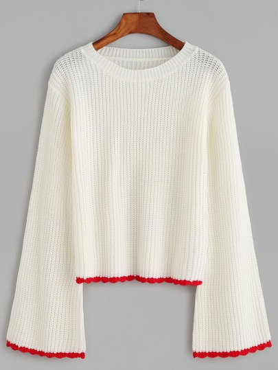 White Contrast Trim Bell Sleeve Sweater