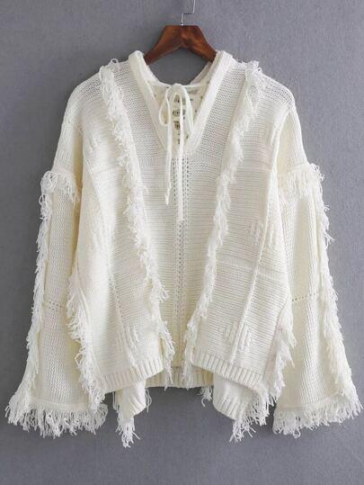 White Tie V Neck Fringe Trim Dip Hem Sweater