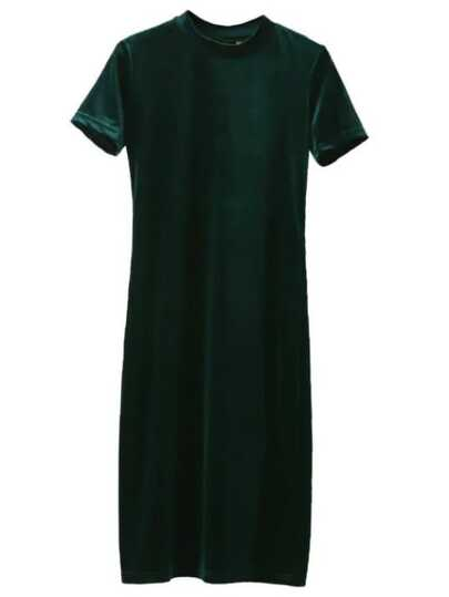 Dark Green Mock Neck Velvet Dress