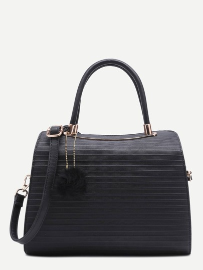 Black Pom Pom Embossed PU Bowling Bag