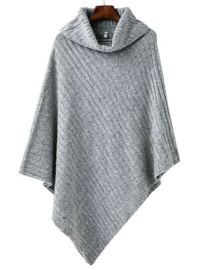 Grey Turtleneck Asymmetrical Cape Sweater