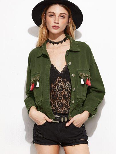 Army Green Eyelet Fringe Trim Denim Jacket