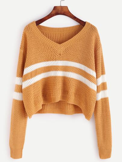 Yellow Striped Chevron Knit Crop Sweater
