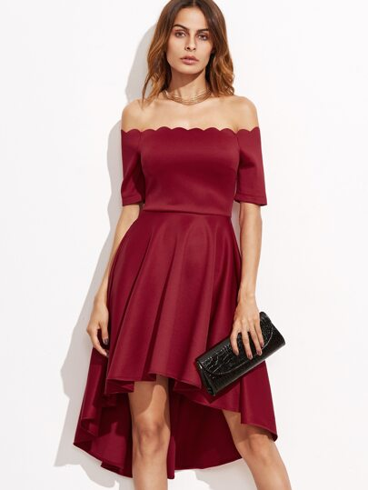 Burgundy Scallop Off The Shoulder High Low Skater Dress
