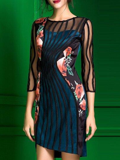 Vestido asimétrico con malla y estampado floral - azul