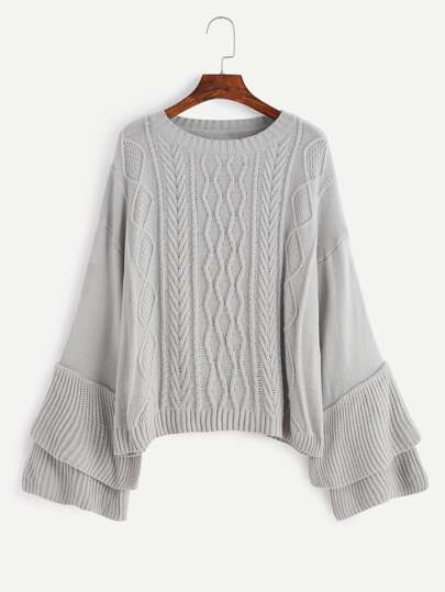 Grey Drop Shoulder Tiered Sleeve Cable Knit Sweater