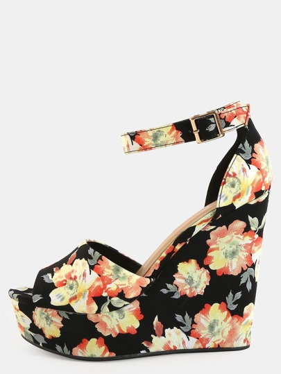 Floral Ankle Strap Wedges BLACK MULTI