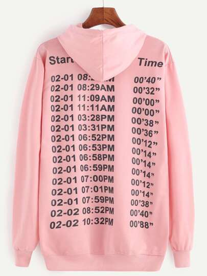 Pink Number Print Hooded Sweatshirt