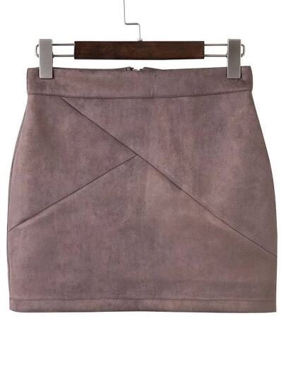 Brown Zipper Back Mini Skirt