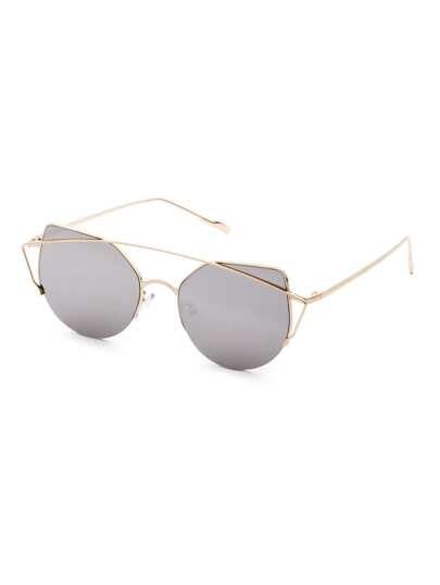 Metal Frame Double Bridge Grey Cat Eye Sunglasses