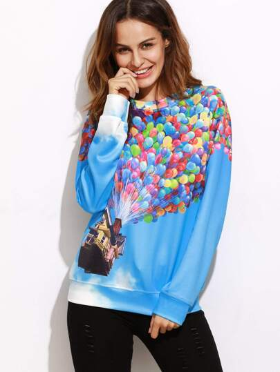 Blue Flying House Print Drop Shoulder Sweatshirt