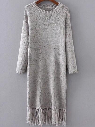 Grey Drop Shoulder Fringe Hem Knit Dress