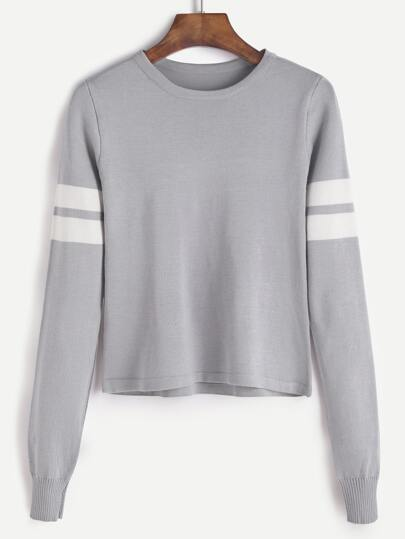 Grey Varsity Striped Sweater
