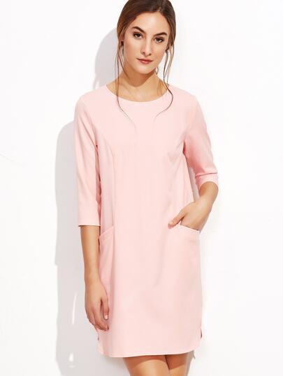 Pink 3/4 Sleeve Keyhole Back Tunic Dress