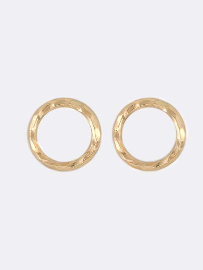 Textured Metallic Hoop Earrings GOLD