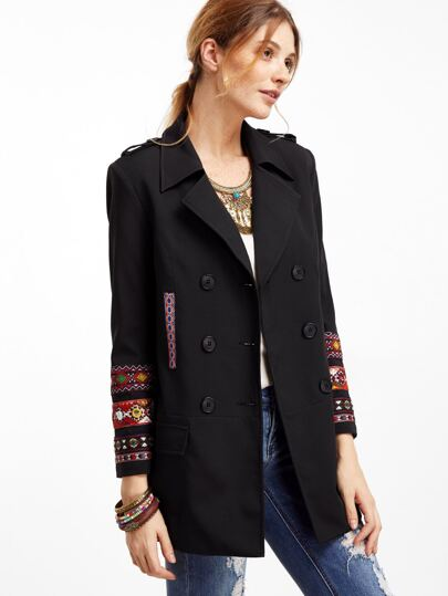 Black Double Breasted Coat With Embroidered Tape Detail