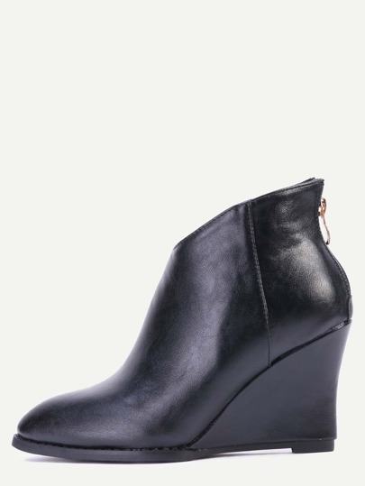 Black PU Point Toe Wedge Heel Ankle Boots