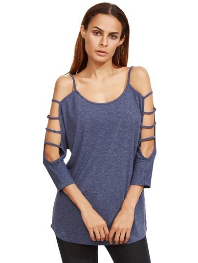 Blue Lattice Shoulder Long Sleeve T-Shirt
