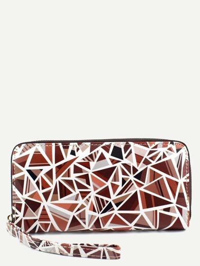 Brown PU Triangular Print Zip Closure Wallet