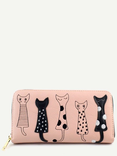 Casual Pink PU Little Cat Wallet