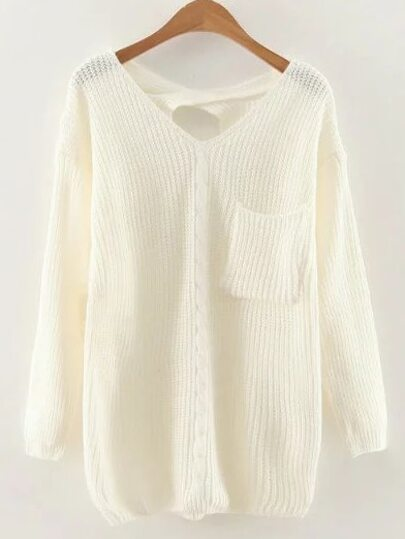 White V Neck Criss Cross Back Cable Knit Sweater