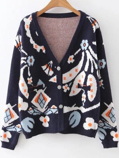 Navy Floral Pattern Button Up Sweater Coat
