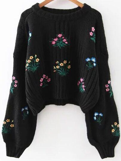 Black Flower Embroidery Drop Shoulder Sweater