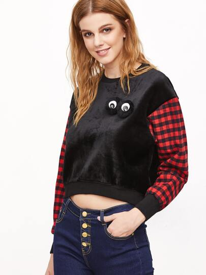 Black Contrast Plaid Sleeve Faux Fur Eyes Embellished Sweatshirt