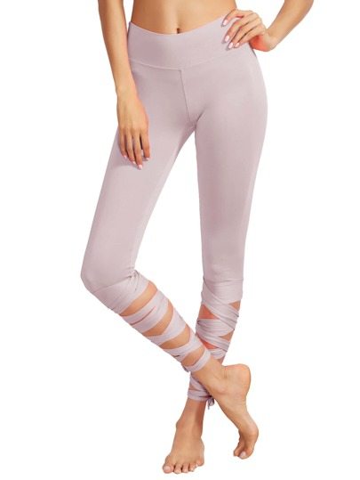 Wide Waistband Criss Cross Tie Up Cuff Leggings