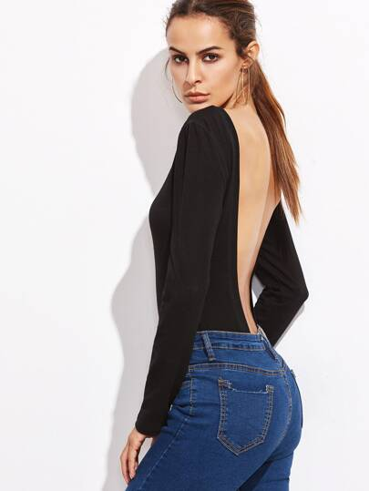 Bodysuit langarm Rückenfrei-schwarz