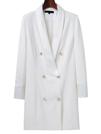 White Shawl Collar Double Breasted Long Blazer