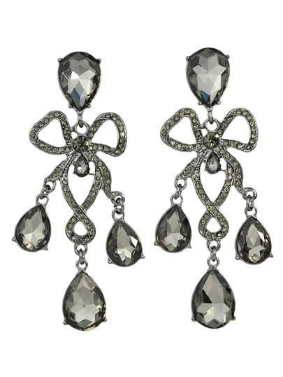 Black Elegant Rhinestone Wedding Chandelier Earrings