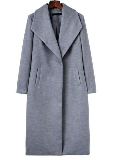 Grey Shawl Collar Longline Coat
