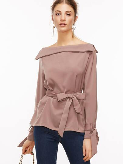 Boat Neck Self Tie Blouse