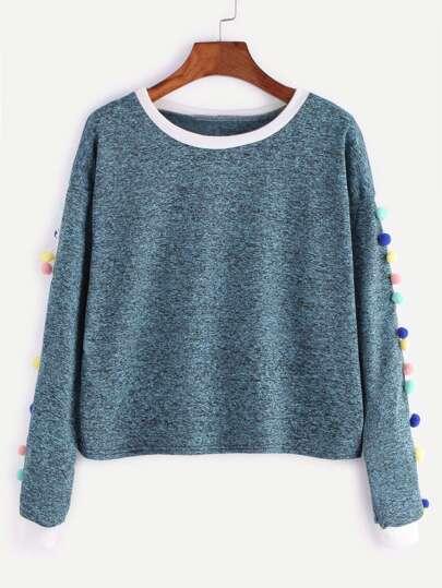 Contrast Trim Pom Pom Trim Sweatshirt