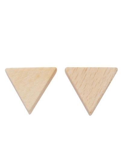Beige Triangle Wooden Stud Earrings