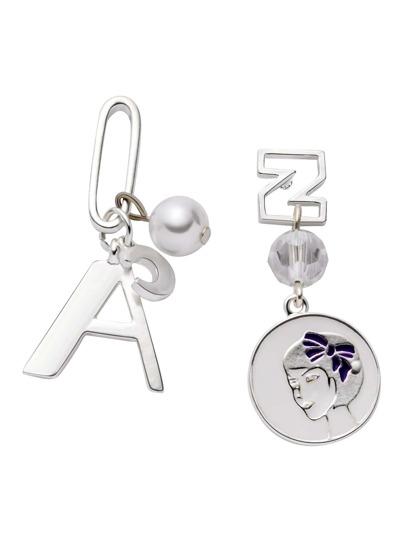 Silver Faux Pearl Multi Shape Asymmetrical Earrings