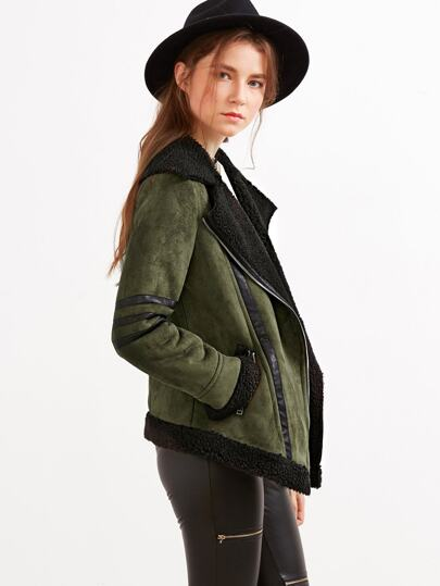 Olive Green Suede Shearling Jacket