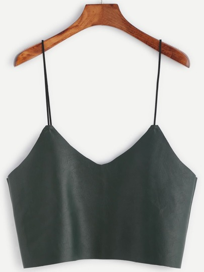 Army Green Faux Leather Crop Cami Top