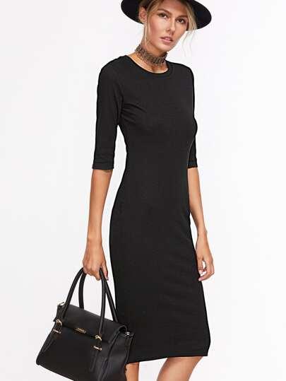 Black Half Sleeve Casual Midi Dress