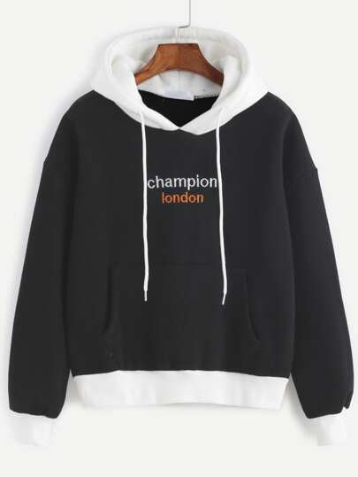 Contrast Trim Letter Embroidered Hooded Sweatshirt