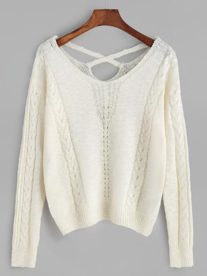 White Cable Knit Crisscross Back Sweater