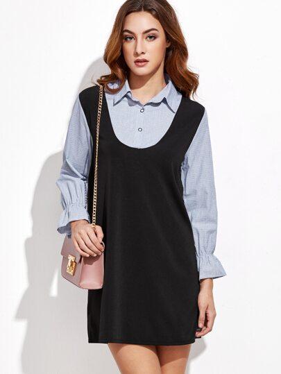 Polka Dot 2 in 1 Contrast Shirt Dress