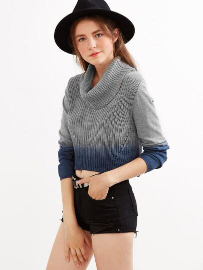 Grey Ombre Turtleneck Crop Sweater