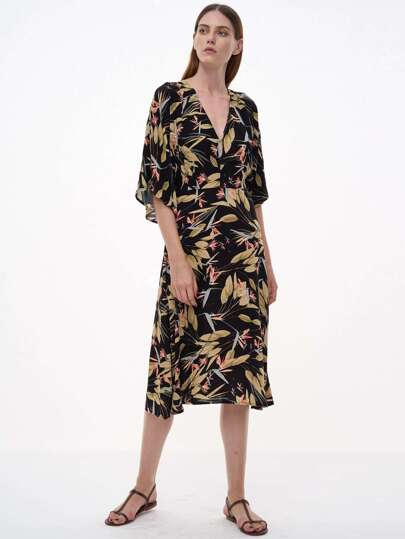Printed Cutout Back Plunge Neckline Dress