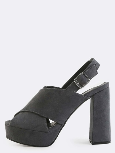Criss Cross Peep Toe Slingback Mules GREY