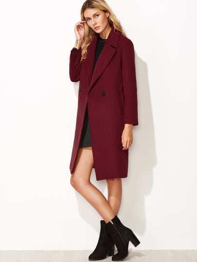 Бордовое двубортное пальто