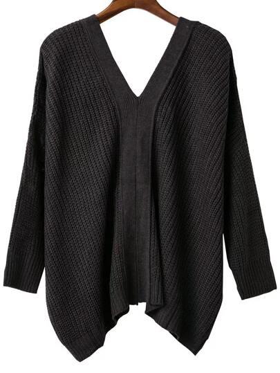 Dark Grey V Neck Lace Up Back Drop Shoulder Sweater